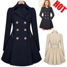 2020 Wholesale Ladies Fashion Solid Color Button Lapel windbreaker Long Spring autumn coat trench outwear jacket for women