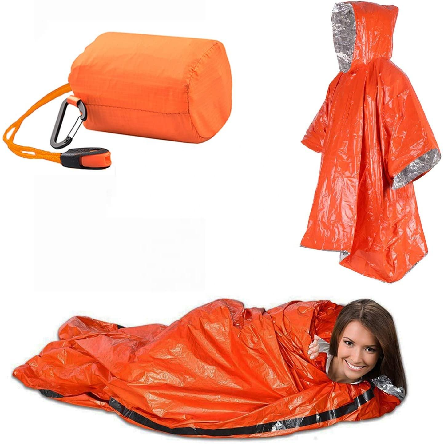 Emergency Sleeping Bag Poncho Survival Sleeping Bags Mylar Emersency Blanket Emergency Raincoat