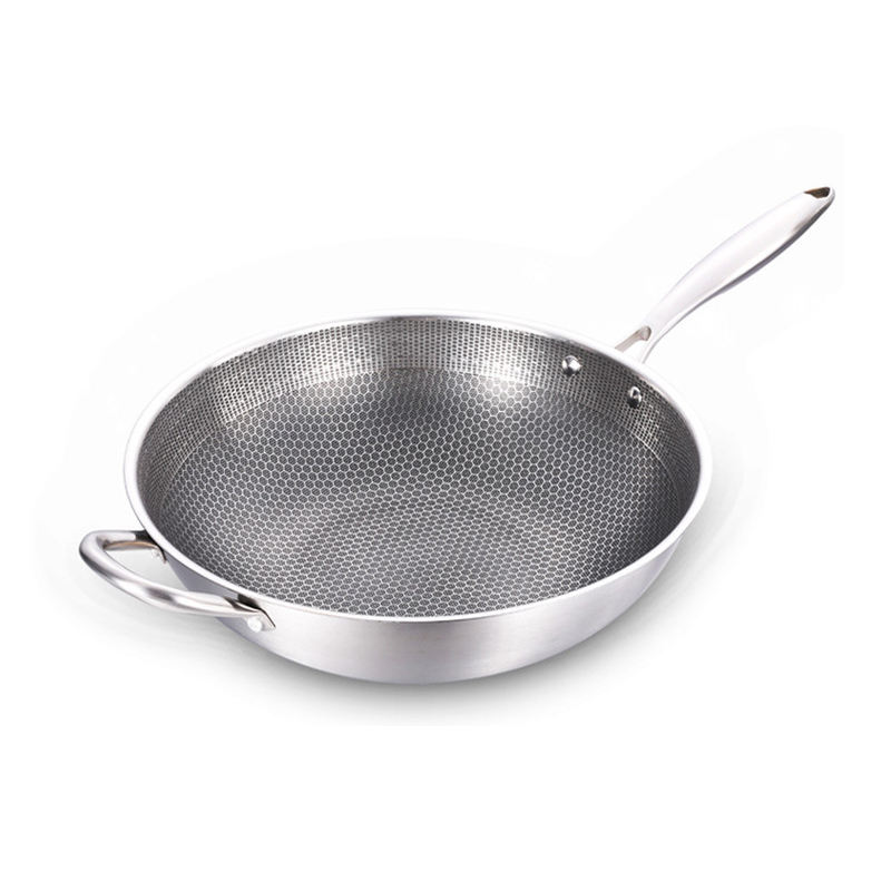 Manufacturer supply stainless steel wok fine quality pan with ears frying pan