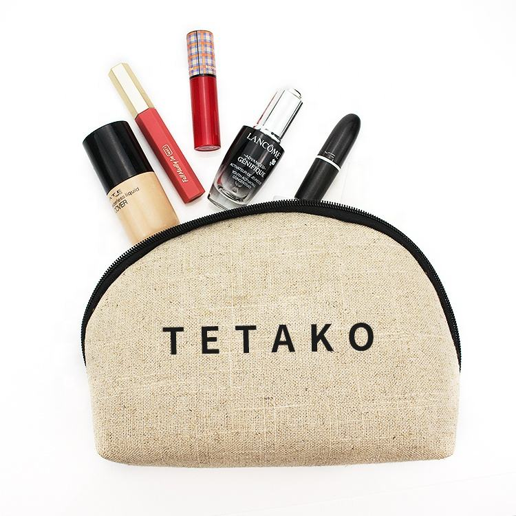 Custom Logo Women Jute Make Up Pouch Bag Travel Ladies Eco Friendly Linen Makeup Cosmetic Bags