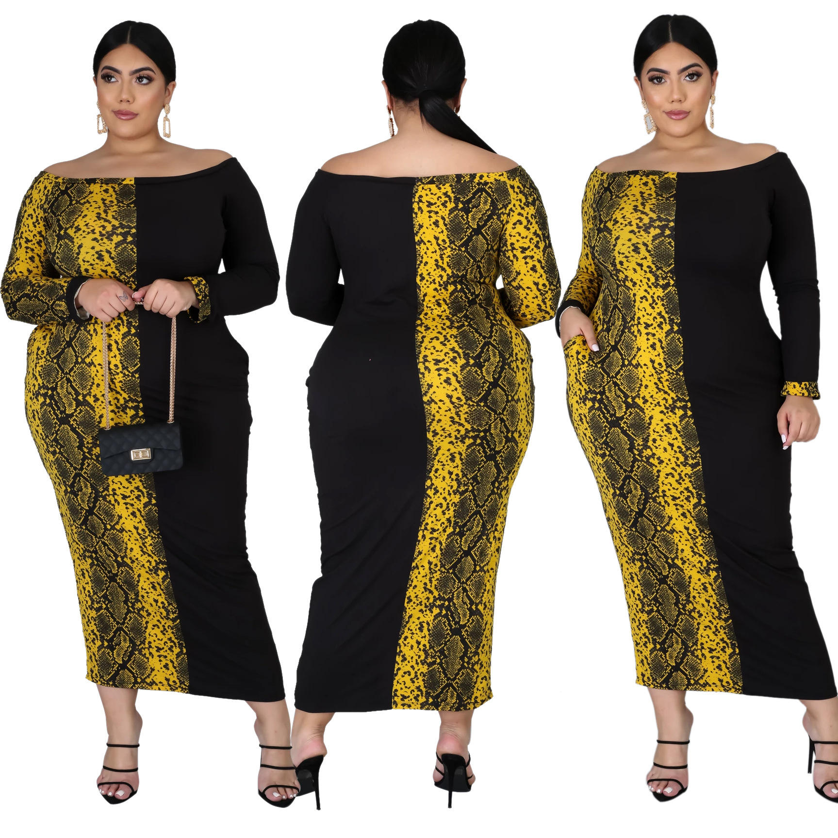 Big size women colorful snake printing dress & plus size africian printing clothing for 2020