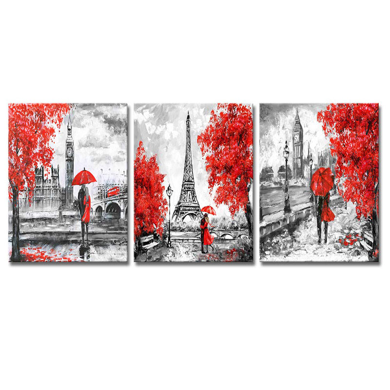Professional 3 Piece Paris Canvas Prints Wall Art Black und Red Romantic Couple Wall Art Decor für Bathroom Decoration