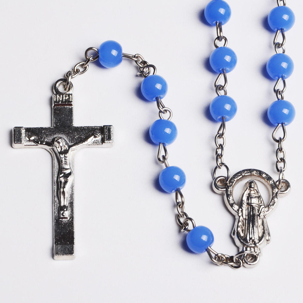 Lovely 6 mm Solid Glass Beaded Necklace with Crucifix Cross Pendant Light Blue Catholic Rosary
