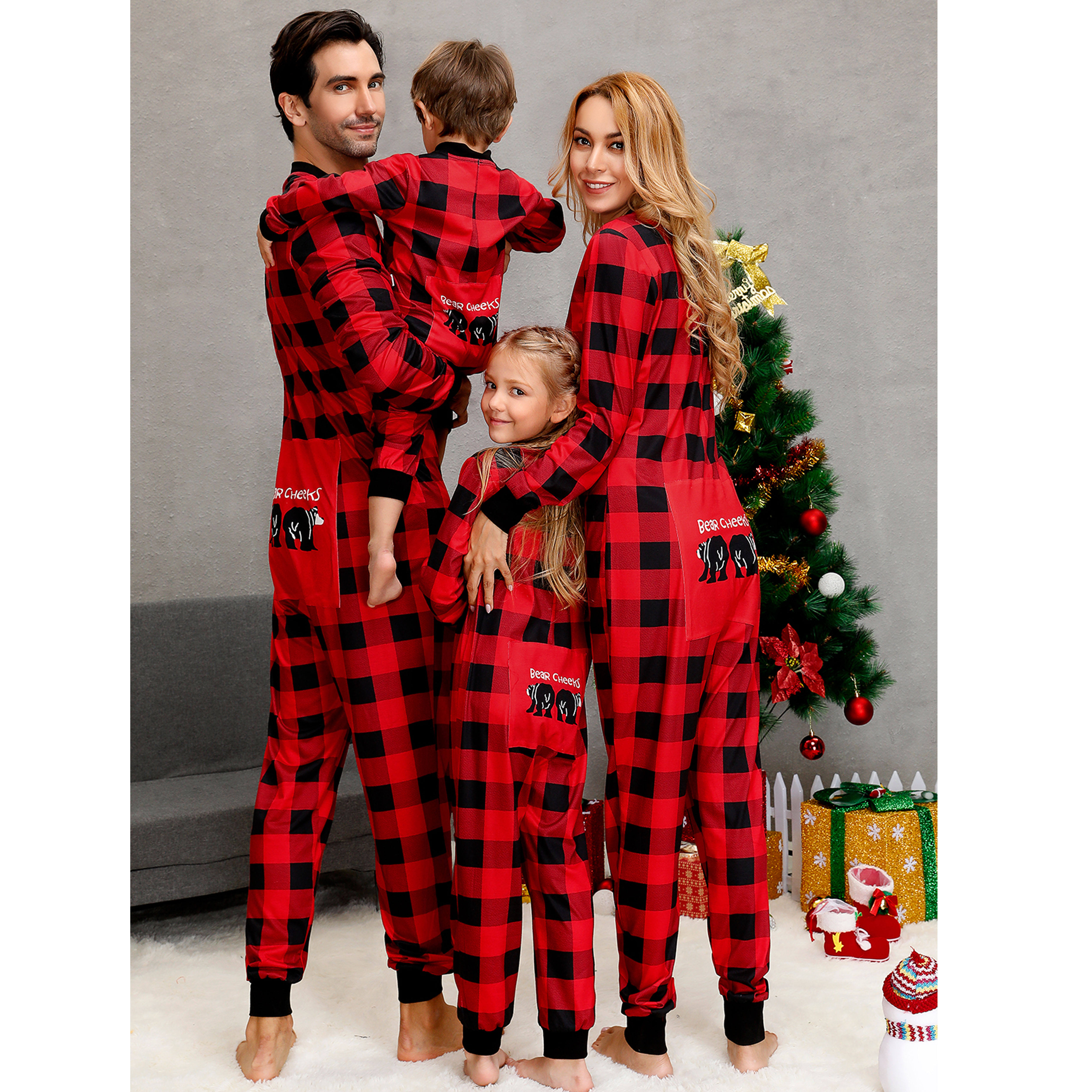 Family Matching Pajamas Christmas Outfits Long Sleeve One-piece Home Wear Onesie Buttons PJs