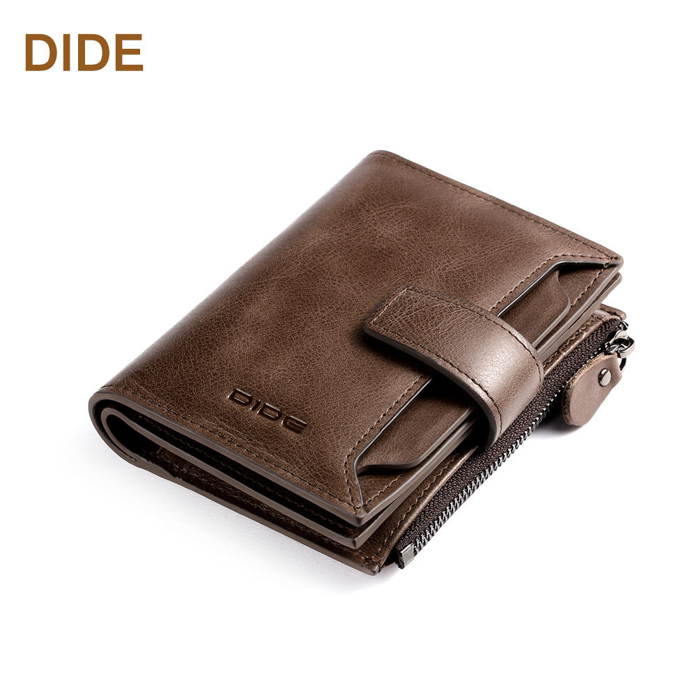 Men Short type Genuine leather Bifold wallet Coin purse wallet to hold many cards