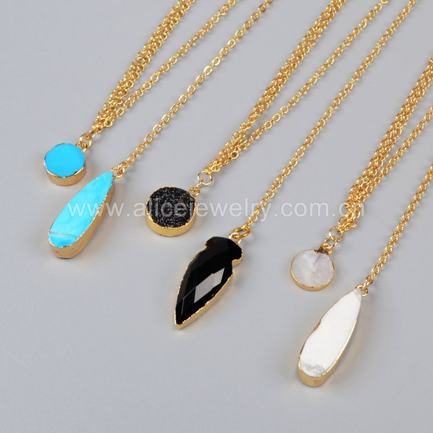 WX251 Gold Plated Choker Necklace layered stone necklace