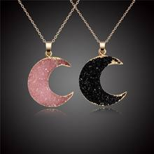 2020 Fashion Natural Quartz Crystal Moon Necklace Gold Chain Quartz Druzy Crescent Moon Necklace