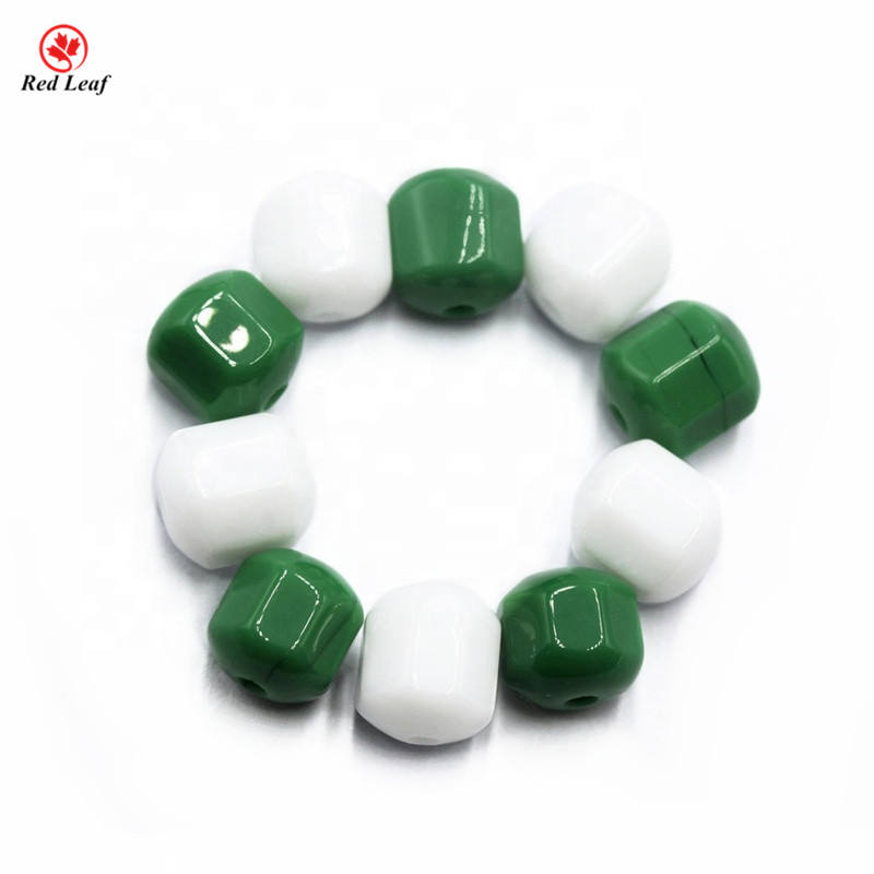 Wuzhou Factory Price Glass Green/White Faceted Beads Stone With Hole For Necklace/Bracelet