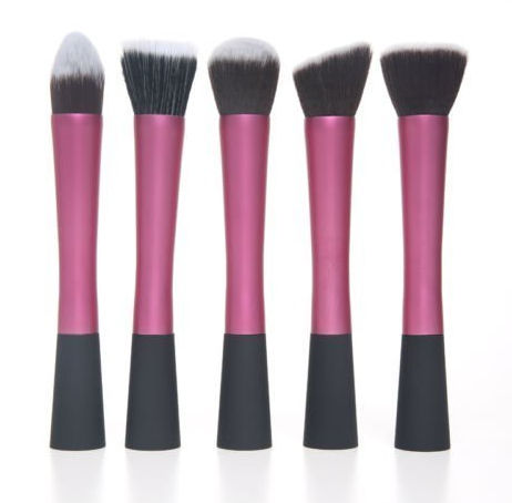 custom logo high quality private label brochas de maquillaje profesional long ferrule makeup synthetic red make up brushes