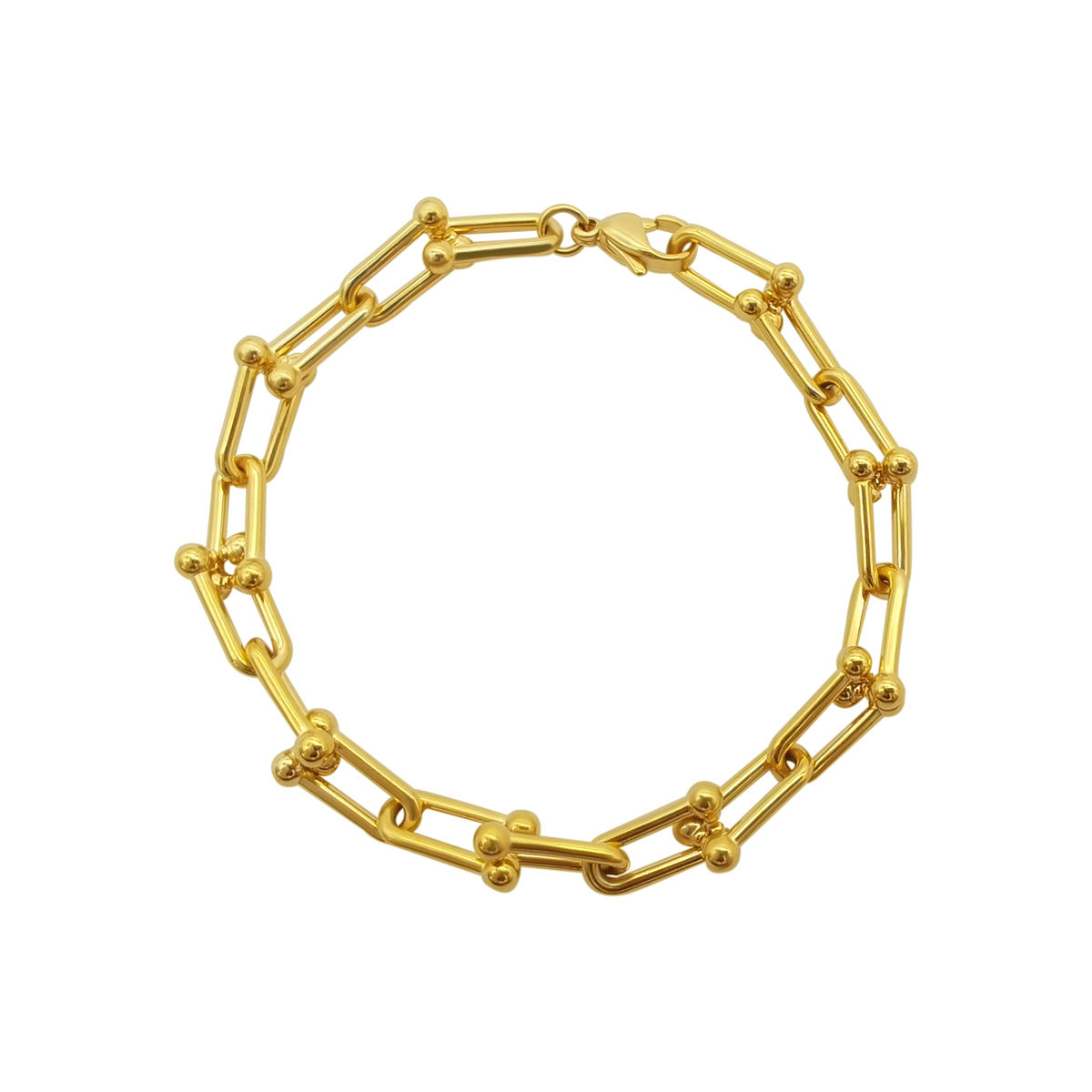 High Quality Fashion Jewelry Gold Color Plated Stainless Steel Link Chain Bracelet