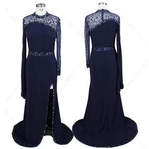Navy Blue Color High Neck Long Sleeve Heavy Beaded Sexy Plus Size Dresses Split Evening Dresses