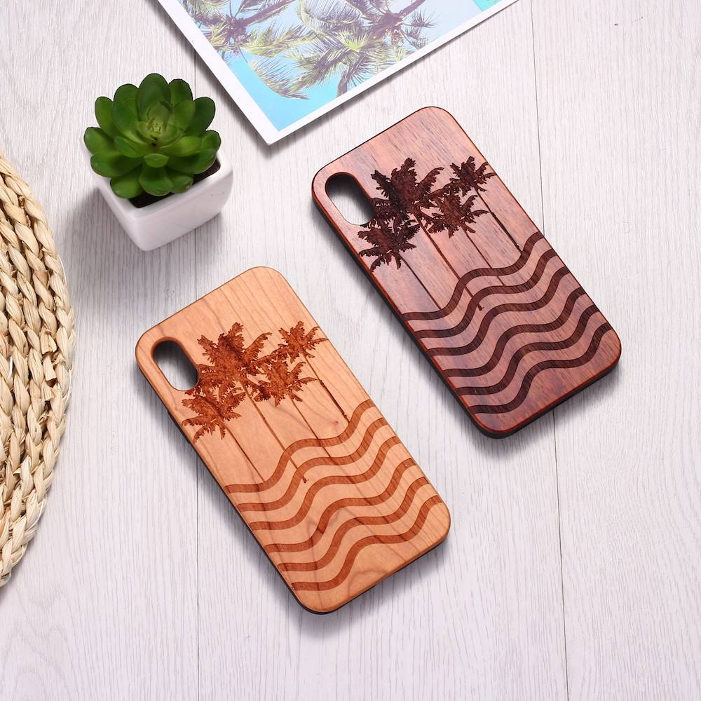 Beach Wave Sand Palms Hawaii Engraved Wood Phone Case Coque Funda For iPhone 6 6S 6Plus 7 7Plus 8 8Plus XR X XS Max 11 Pro Max