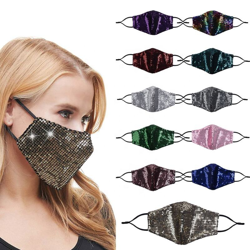 fashion Sequin custom design face maskes girls Multi-color Sparkly Sequins Face Cover Nightclub Masquerade Maskes for Women