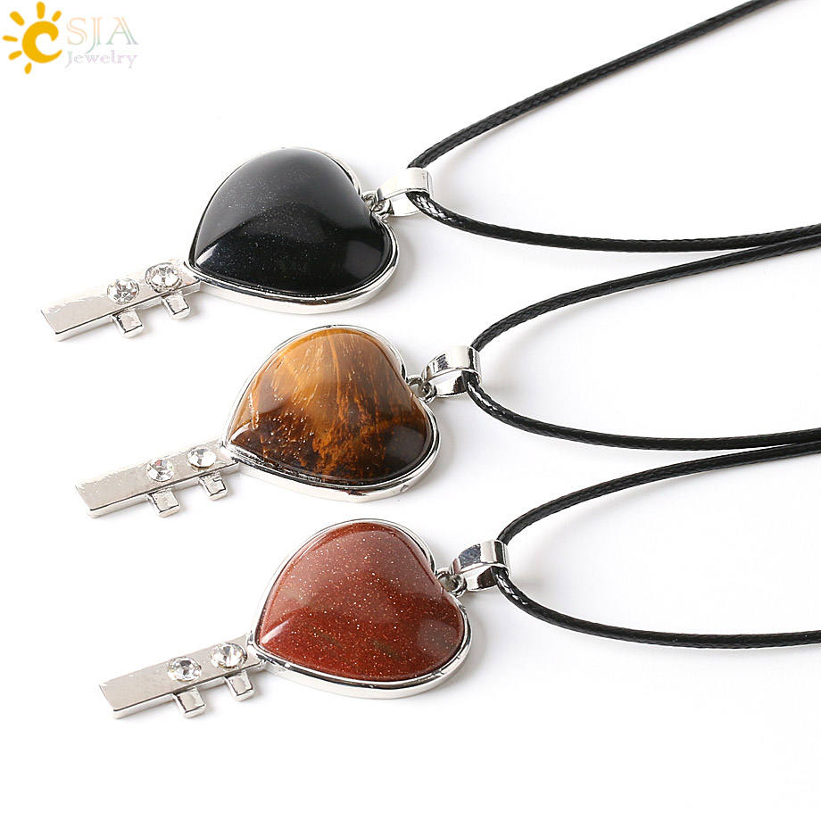 CSJA fashion heart shaped natural stone pendants necklace love charm rose quartz tiger eye crystal necklaces jewelry E245