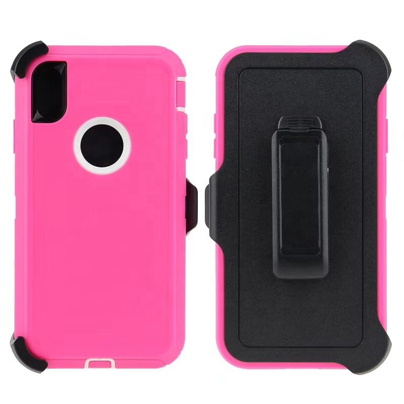 Professional factory armor king rugged 360 protection robot anti shock defender phone case with belt clip for IPhone XR