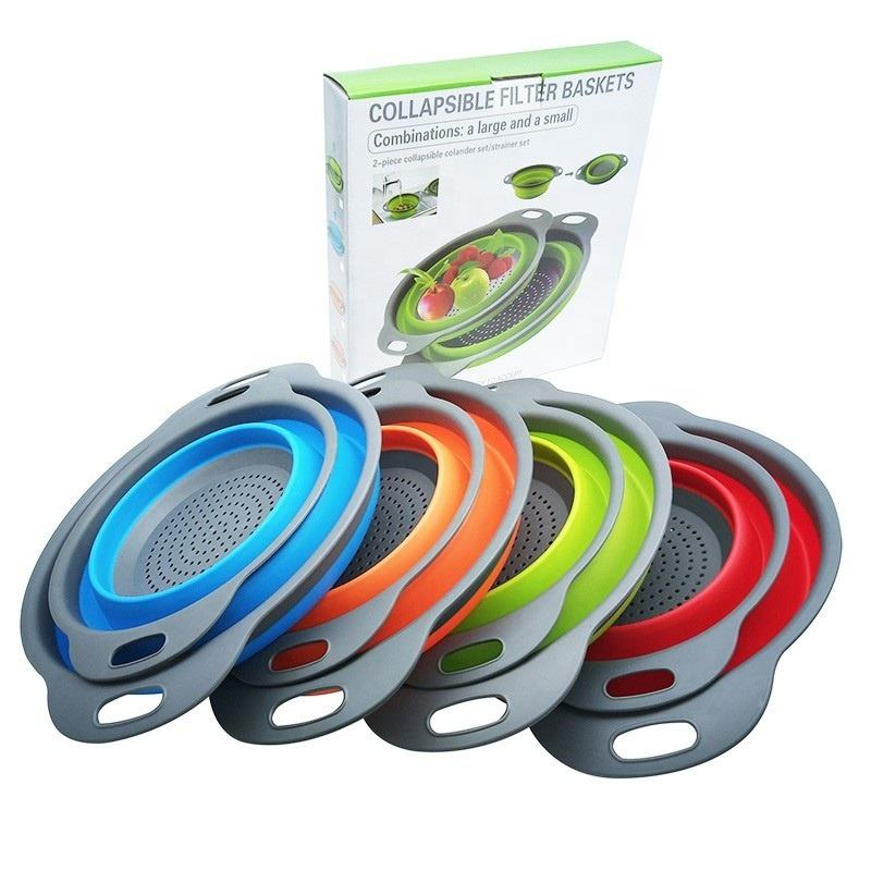 2pk Round shape Silicone PlasticCollapsible Kitchen Colander set Space-Saver Folding Strainer Colander with handle