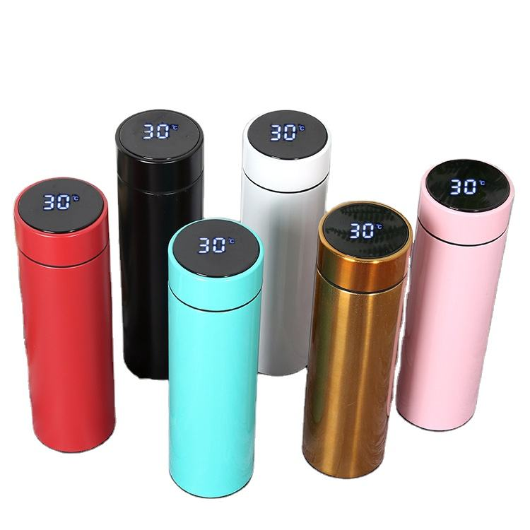 Double Wall 500ml Sport Water Bottle Stainless Steel Smart Led Vacuum Thermo Flask