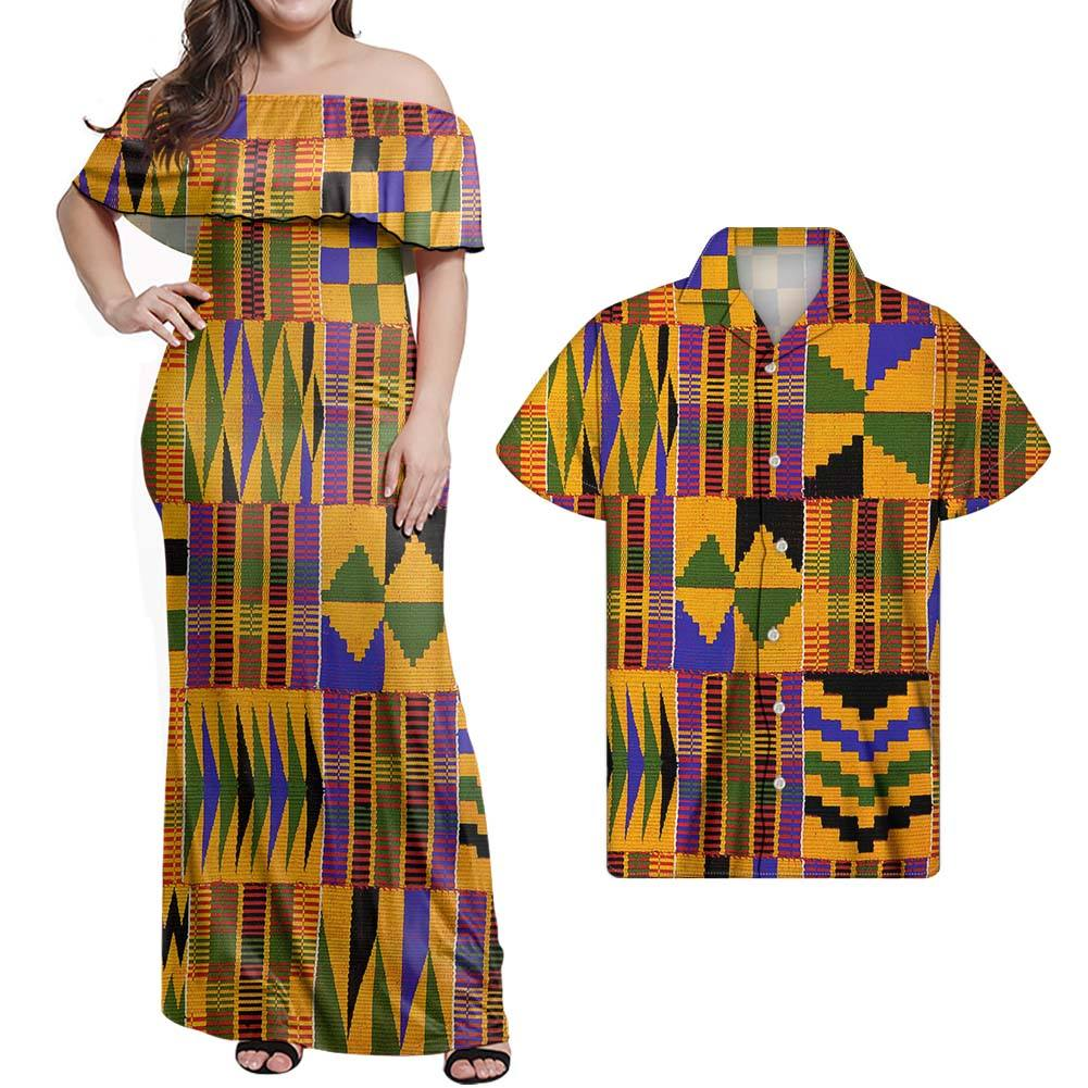 With Lowest Price African Dashiki Dress For Woman One Shoulder Kente Dress Ladies African Kitenge Dress Designs Match Men shirts