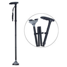 Hot sale height adjustable  Folding Portable  Aluminum cane scrutch  walking stick with LED for lighting and emergency SC3602