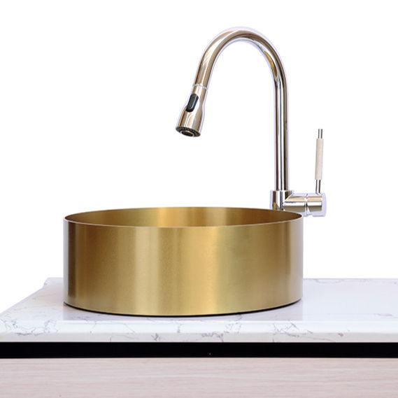 Stainless Steel Polished Round Drop-in or Undermount Lavatory Sink, Golden Color Sink Bathroom Wash Basin