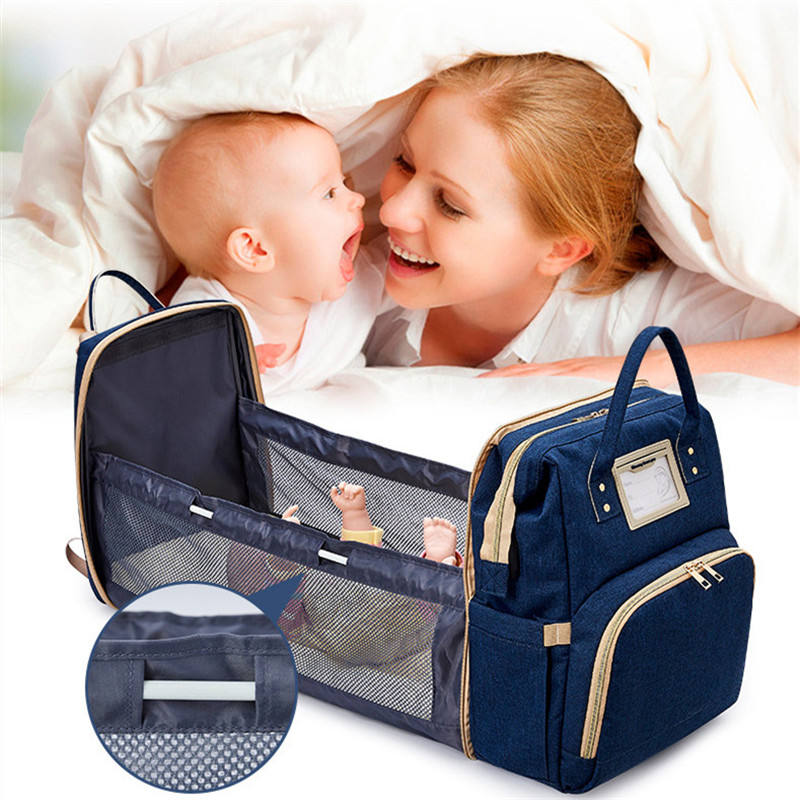 Large travel Foldable Waterproof Changing Station Backpack Portable Baby diaper bag bed Mommy Bag diaper bag with bassinet