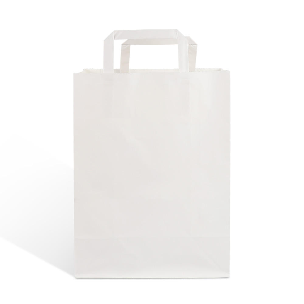 biodegradable white craft kraft paper carry packaging shopping bag with flat handle