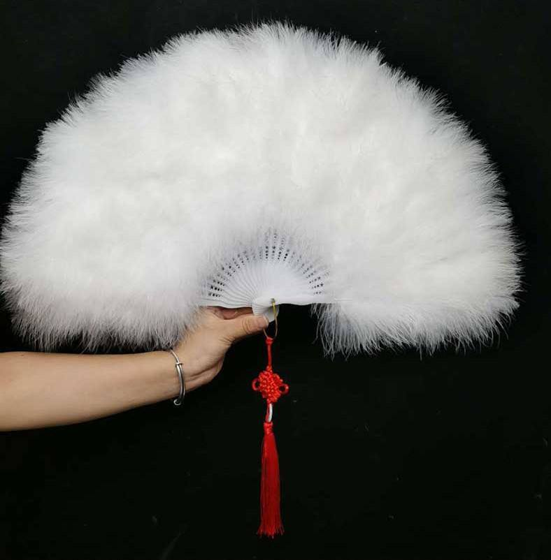 PoeticExist Manufacturer Custom Solid Color Marabou Feather Fans Lady Costume Hand Fans Wedding Party Favors