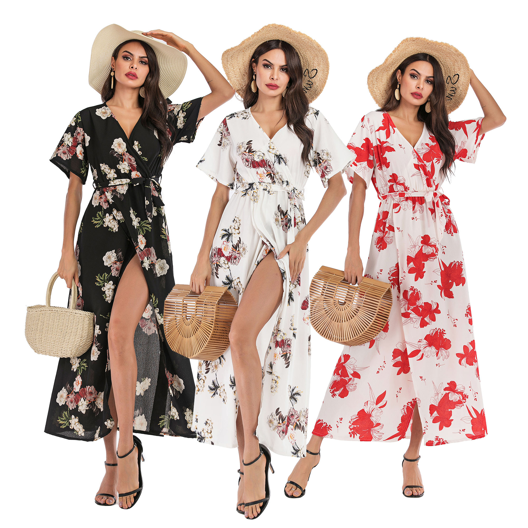 Short Sleeve Women's Summer V-neck Seaside Holiday Beach Floral Dress Women Clothing
