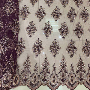 100% polyester mesh hand lace bead handmade embroidery fabric for wedding party dress