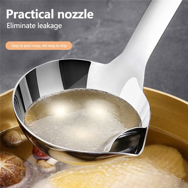 New separating oil soup ladle spoon oil filter spoon stainless steel soup ladle for kitchen accessories