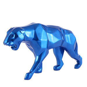 Home decor Geométrica Lasca Panther Leopard Animal da Resina Escultura Abstrata