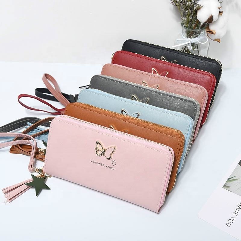 Fashion Butterfly Wrist Handle Phone Case Money Pocket Pouch wallets pu leather ladies purse women long