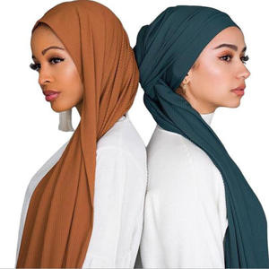 Hot Selling Women Cotton Pleated Jersey Hijab Scarf