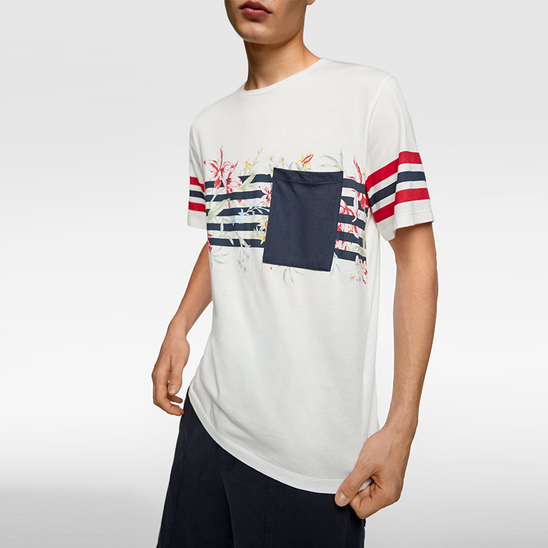 2020 Summer Cotton Jersey Stripe Printed Crew Neck Short Sleeve Fit T Shirt Mens
