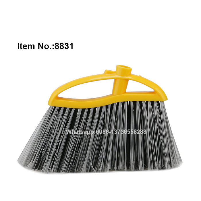 HQ8831 yellow color broom block plastic hard bristle floor broom