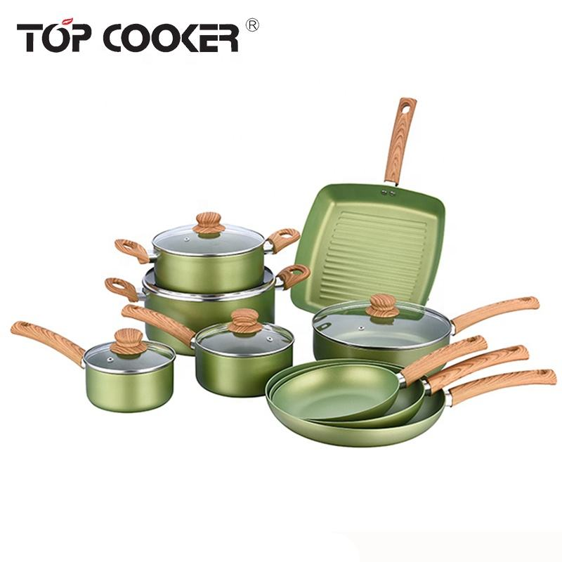 Pressed olive-green non-stick coating titanium cookware