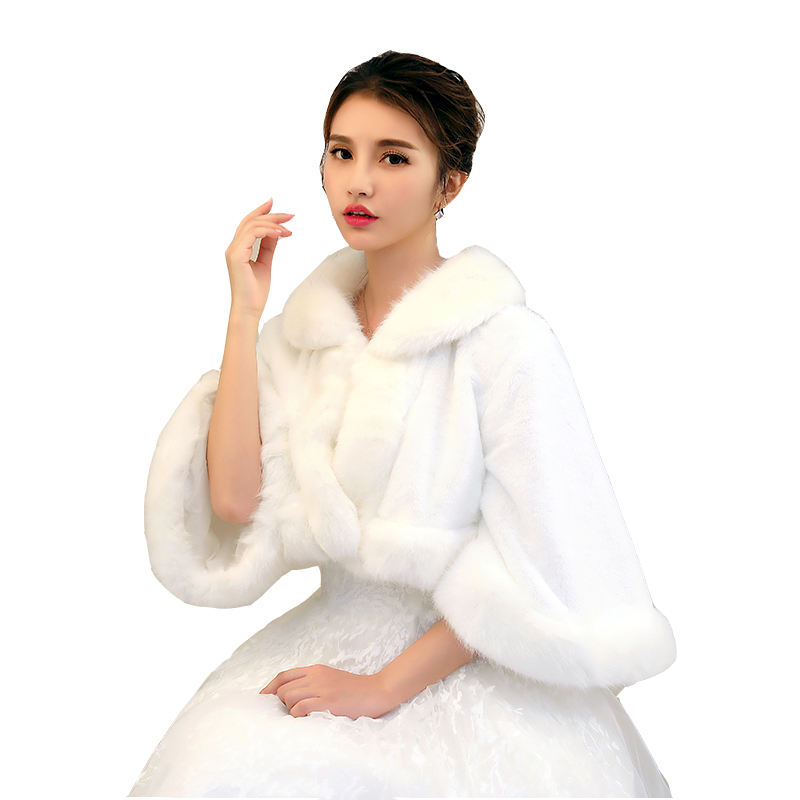 Wholesale new bride plush shawl faux fur long fur collar wide-sleeved shawl winter hot style