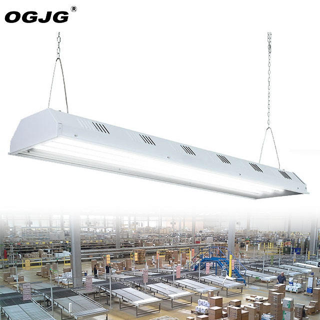 DLC 200W 300W warehouse steel housing dimming highbay lighting supermarket store 2ft 4ft 5ft pendant led linear high bay light