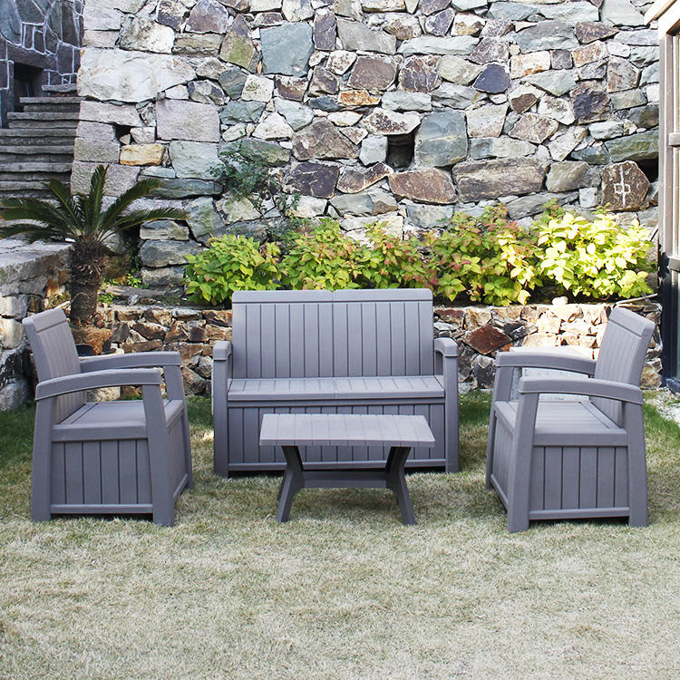 Outdoor Furniture Plastic Waterproof Wooden Looking Garden Use Sofa Set