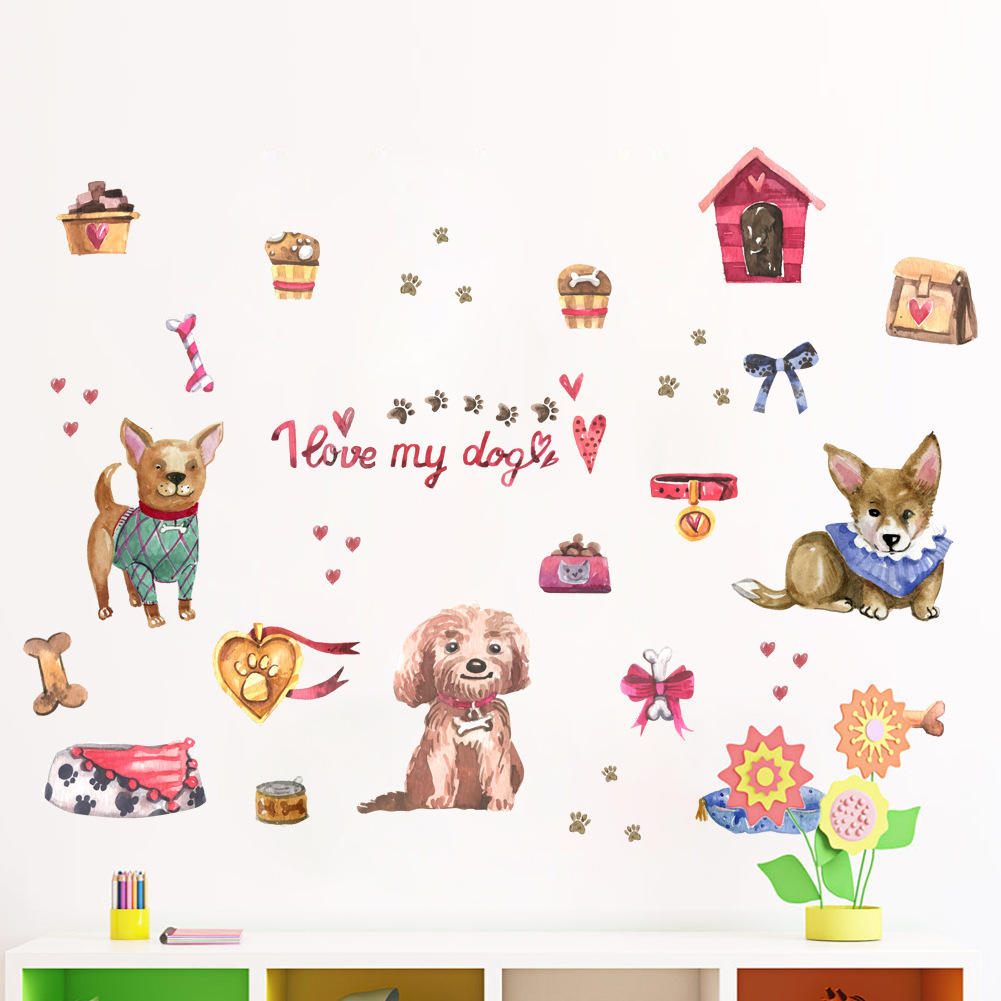 Cartoon Wall Stickers for Kids Rooms Lion Fox Elephant Dog Animal Home Decals Nursery Kindergarten Baby Room Home Decor