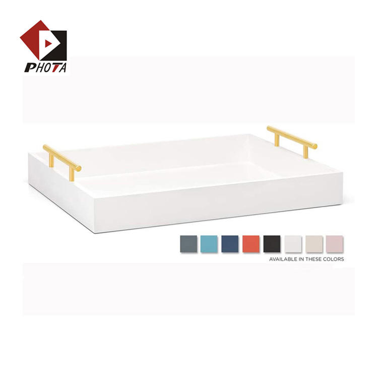 PHOTA New Arrival White Wooden Serving Tray Coffee table tray for Ottoman