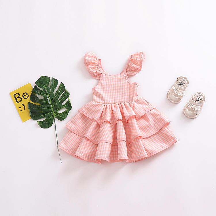 De alta calidad niños casual de <span class=keywords><strong>moda</strong></span> de chicas fiesta Rosa vestidos puffy para niños