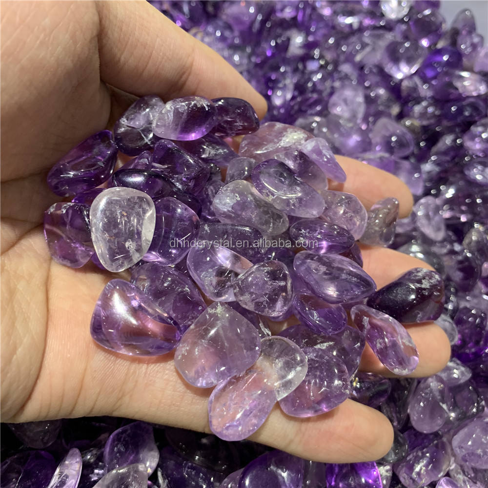 Wholesale 12--20 mm natural amethyst quartz gravel crystal tumbled stones