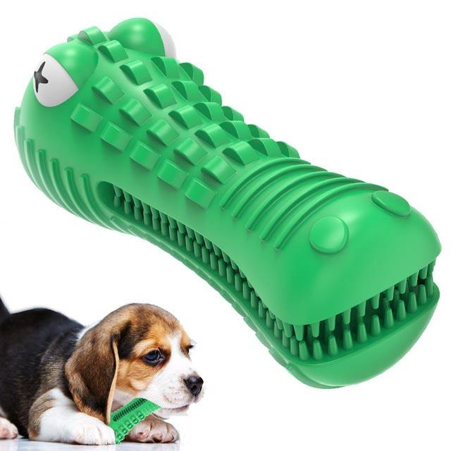 Low MOQ dog squeaky toys- toughest natural rubber wholesale green crocodile rubber dog interactive toy