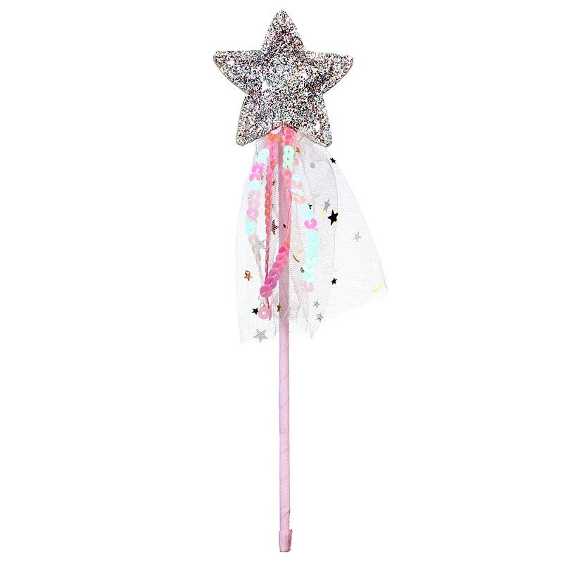 Glitter Star Fairy Wands with ribbons Princess Wands For Kids