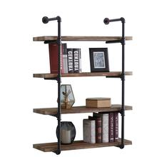 Plumbing pipe and wood shelving vintage retro 3 4 black floor flange pipe fittings 4Tier industrial iron pipe shelves