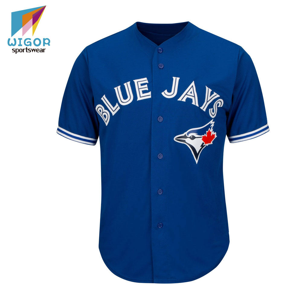Plain Dyed Fabric Blue Jays Team Jersey Custom Name/Number Blank Baseball Team Jersey