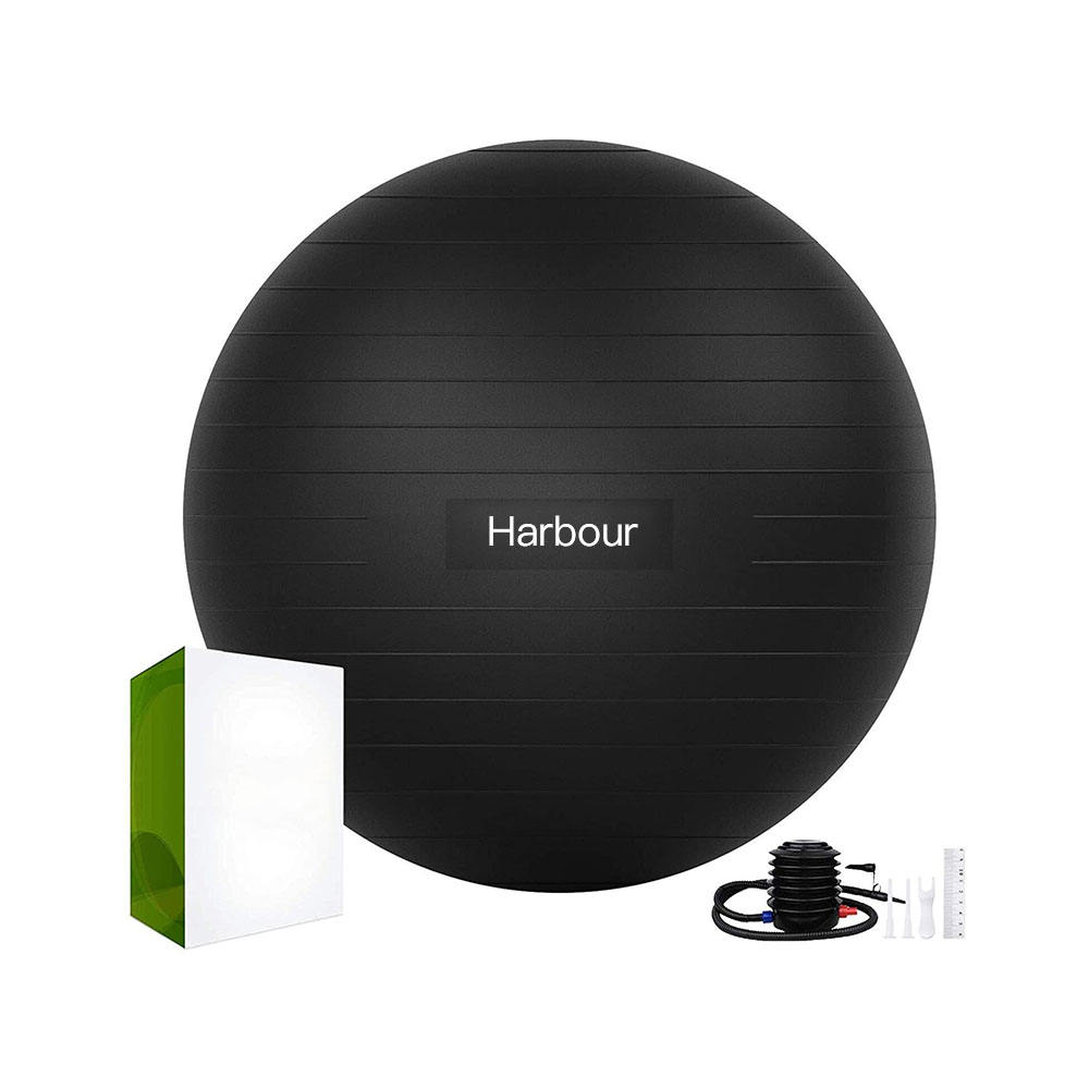 Harbour Custom PVC Big Black Yoga Balls Exercise Ball for Yoga 55cm 65cm with Air Lift