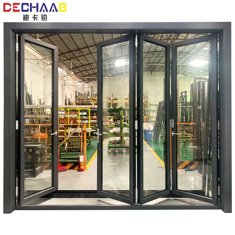 75 series folding door bi-fold aluminum profile glass Low-E glass accordion kitchen patio doors with 304# top hardware
