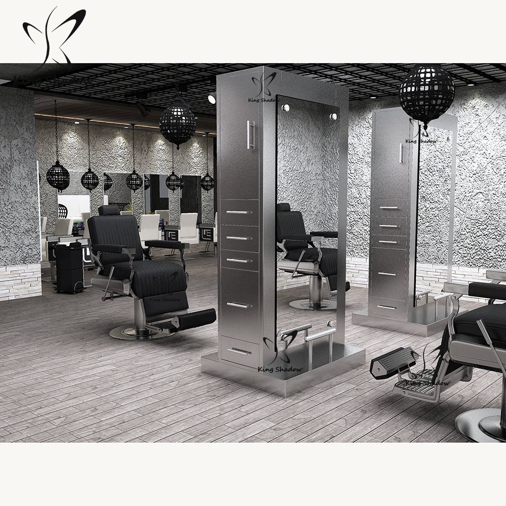Barber stations furniture salon styling stations stainless steel salon mirror